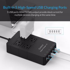 ORICO HPC-4A5U-US-BK Family Size 4 USA Outlet Surge Protector Power Strip with 5 Port 40W USB Charge