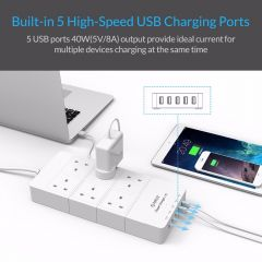 ORICO HPC-6A5U-UK-WH Home office UK Plug USB Travel Charger Adapter with 6 Outlet Power Strip Surge