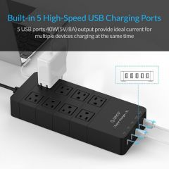 ORICO HPC-8A5U-US-BK Family Size 8 Outlet Surge Protector Power Strip with 5 Port 40W USB Charger
