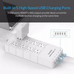 ORICO HPC-8A5U-US-WH Family Size 8 Outlet Surge Protector Power Strip with 5 Port 40W USB Charger