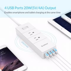 ORICO Power Strip 4 USB Surge Protector Socket for Smartphone Intelligent Recognition Patch Board wi