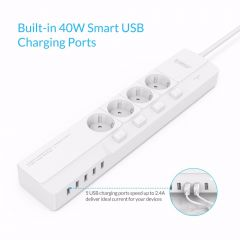 ORICO Smart Socket 4 AC Outlet 5 USB Port Surge Protector Universal Adapter Travel Multi Plug Home E