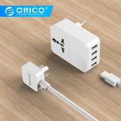ORICO Universal Power Plug Travel Converting Adapter 20W Surge Protector with 4 USB Charging Ports