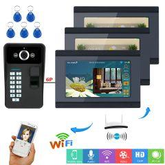 One to Three Video Intercom system 1 Camera 3 Monitors Wireless Wifi Fingerprint RFID Password Video