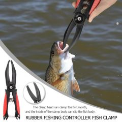 Rubber Fishing Controller Fish Clamp Claw Grip Antiskid Clip Holder Fishing Pliers Tackle
