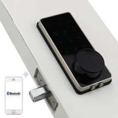 Silver Zinc Alloy Home Smart Bluetooth Electronic Touch Screen Code Password Lock Deadbolt Door Lock