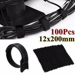 Universal 100 Pcs 12x200mm Black Reusable Nylon Cables Wire Organiser Black Cable Ties Wrap Tidy Str
